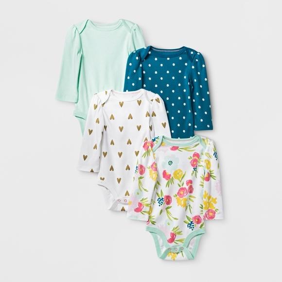 aa64e1591 Cloud Island One Pieces   Baby Girls Set Of 4 Long Sleeve Onesies ...